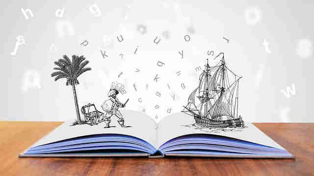 絵本から船と海賊が飛び出している絵本