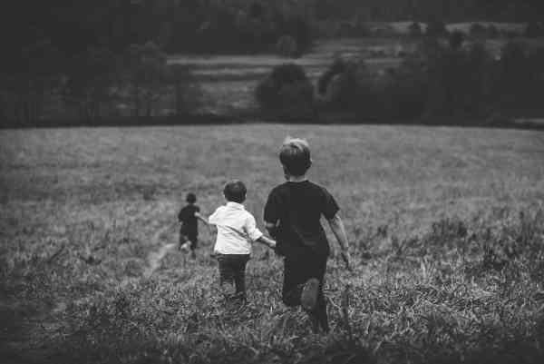 草原を走る子供たち